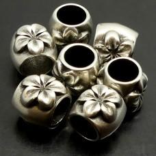 Perle à Glisser - Tube avec fleur en métal