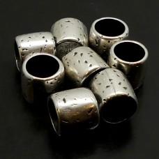 Perle à Glisser - Tube martelé en métal