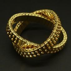 Bracelet Métal doré extensible 2 rangs
