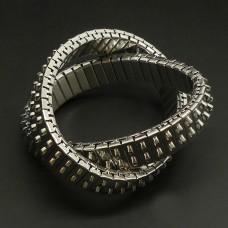 Bracelet Métal argenté extensible 2 rangs