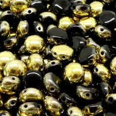 Candy Bead - Opaque Black Gold Amber Half