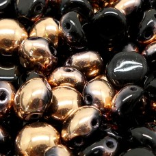 Candy Bead - Opaque Black Gold Capri Half