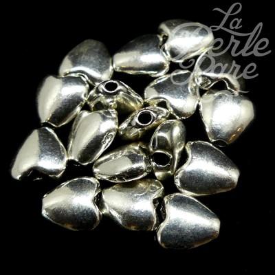 Perle Cœur Argent Sterling 7 x 3 mm (la pièce)