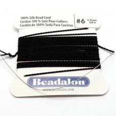 Cordon de soie noir 0.7 mm