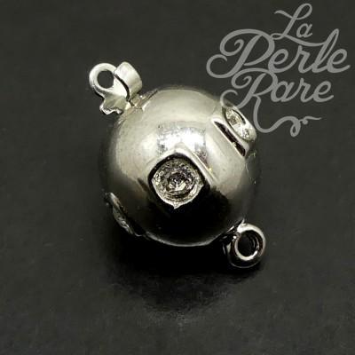 Fermoir - Clip Boule plaqué Rhodium avec Strass Carré (1 pce)