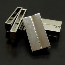 Fermoir - Aimant Rectangle Métal Platine 38.5 x 19 mm (1 pce)