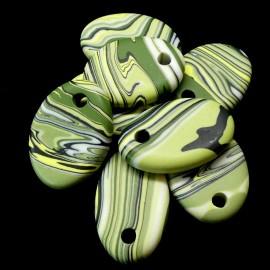 Pendentif - Ovale en résine zébré vert