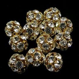 Boule filigrane dorée avec cristaux Swarovski