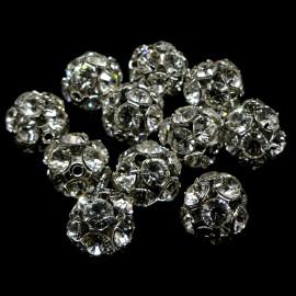 Boule filigrane rhodium avec cristaux Swarovski 10 mm