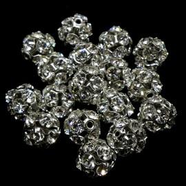 Boule filigrane rhodium avec cristaux Swarovski 8 mm