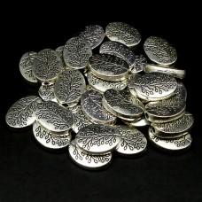 Perle ovale platte arbre style Tibet (10 pces)