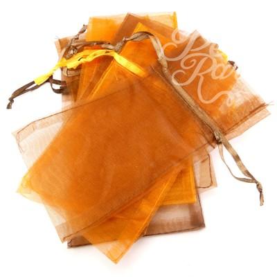 Lot de pochettes en organza - Orange et ocre (6 pces)