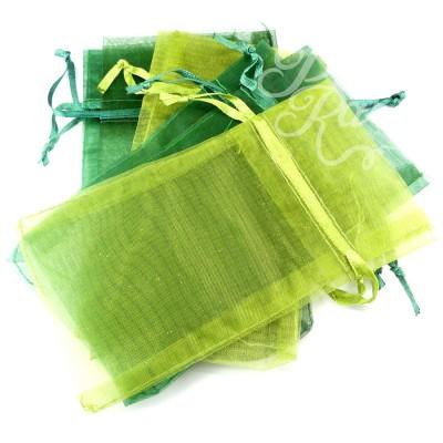 Lot de pochettes en organza - Vert et olive (6 pces)