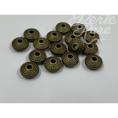 Rondelle intercalaire style tibétain - Bronze antique (10 pièces)