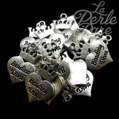 """Breloque - Coeur """"Beading Diva"""" (1pce)"""