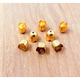 Calotte - Tulipe  en métal dorée 6 mm (2 pces)
