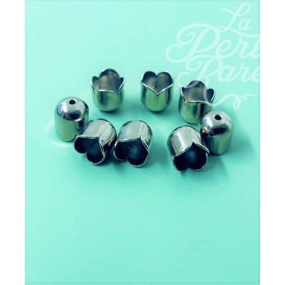 Calotte - Tulipe  en métal Argenté 6 mm (2 pces)