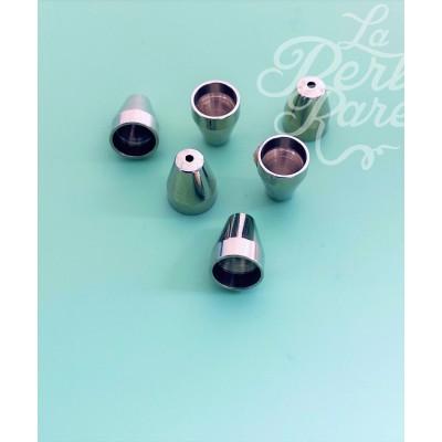 Calotte -Vase en métal argenté 8mm (2 pces)