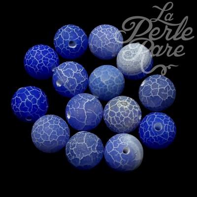 Ronde 12 - Agate naturelle craquelée bleu royal